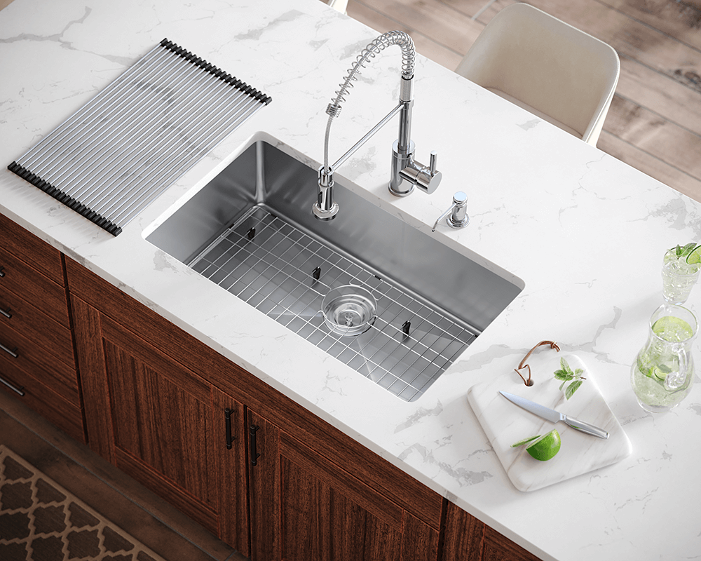 3120S Lifestyle Image: 304-Grade Stainless Steel Undermount Limited Lifetime One Bowl Kitchen Sink