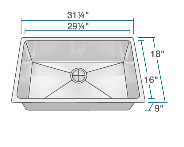 "The dimensions of 3120S Undermount 3/4"" Radius Sink is 31 1/4"" x 18"" x 9"". Its minimum cabinet size is 33""."