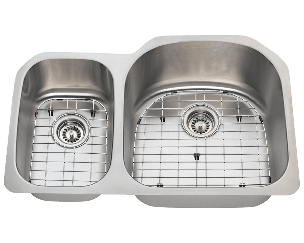 3121R Alt Image: 304-Grade Stainless Steel Rectangle Two Bowls Undermount Kitchen Sink