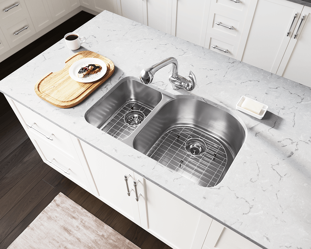3121R Lifestyle Image: 304-Grade Stainless Steel Rectangle Two Bowls Undermount Kitchen Sink