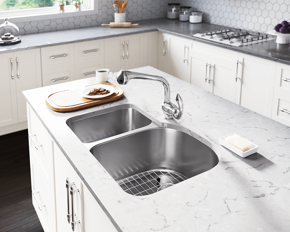 3121R Lifestyle Image: 304-Grade Stainless Steel Rectangle Undermount Two Bowls Kitchen Sink