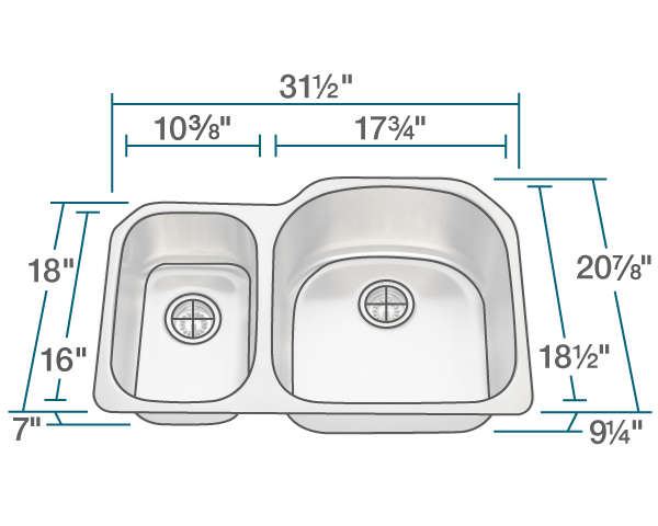 "The dimensions of 3121R Stainless Steel Kitchen Sink is 31 1/2"" x 20 7/8"" x 9 1/4"". Its minimum cabinet size is 33""."