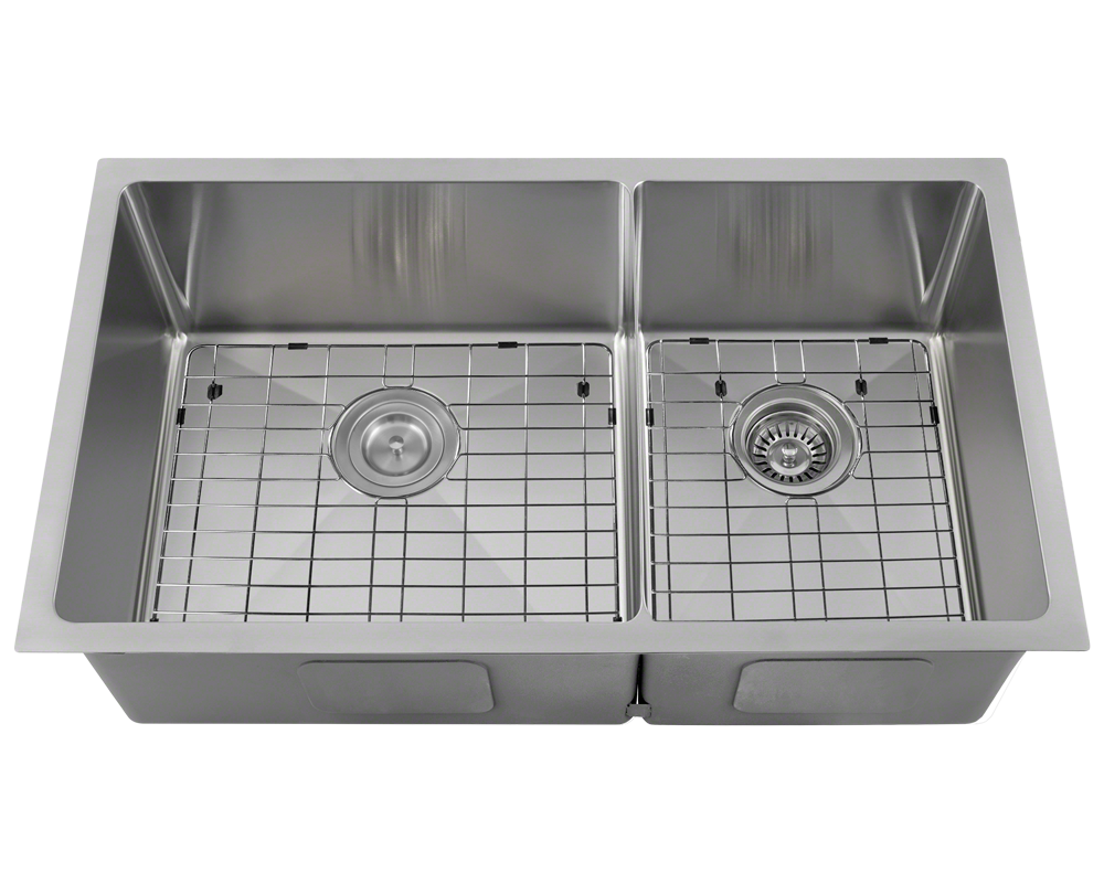 3160L-14-SLBL Alt Image: 304-Grade Stainless Steel Rectangle Undermount to Laminate Two Bowls Kitchen Sink