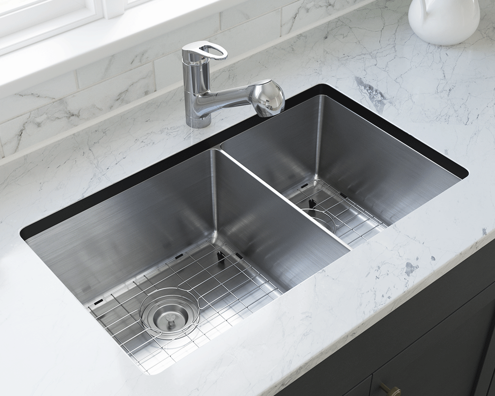 3160L-14-SLBL Lifestyle Image: 304-Grade Stainless Steel Undermount to Laminate Rectangle Two Bowls Kitchen Sink