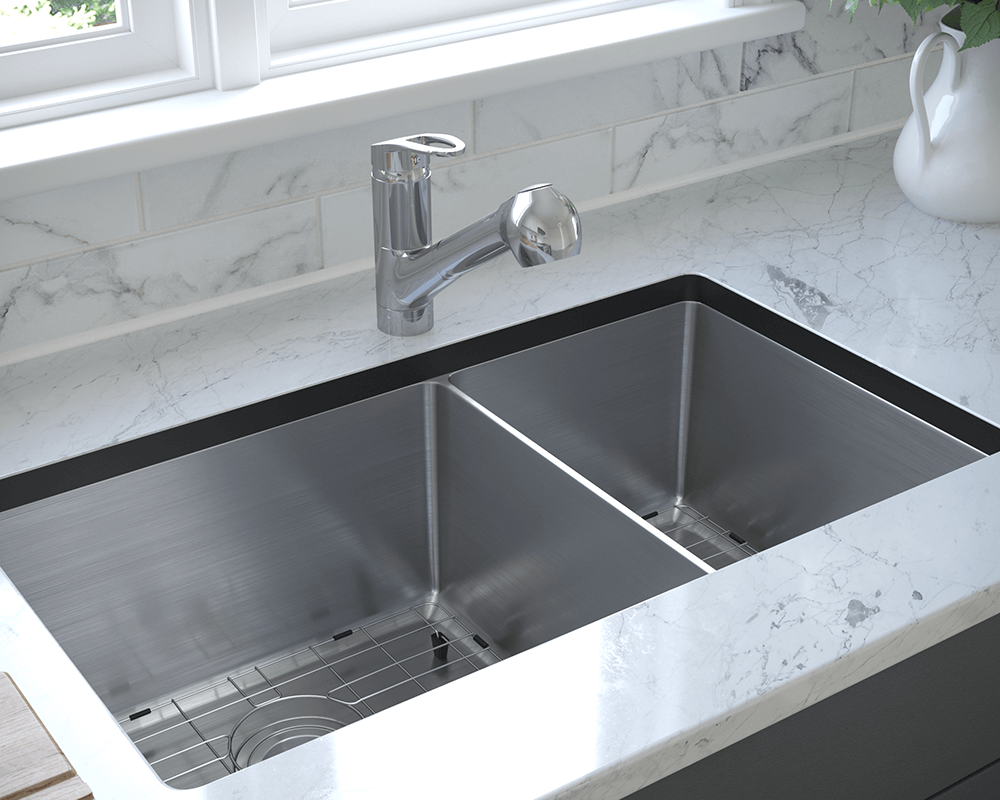 3160L-14-SLBL Lifestyle Image: 304-Grade Stainless Steel Rectangle Undermount to Laminate Two Bowls Kitchen Sink