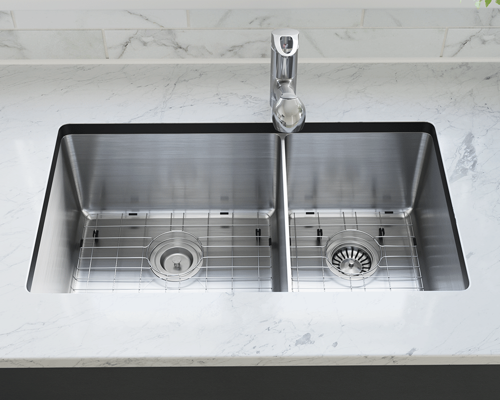 3160L-14-SLBL Lifestyle Image: 304-Grade Stainless Steel Rectangle Two Bowls Undermount to Laminate Kitchen Sink