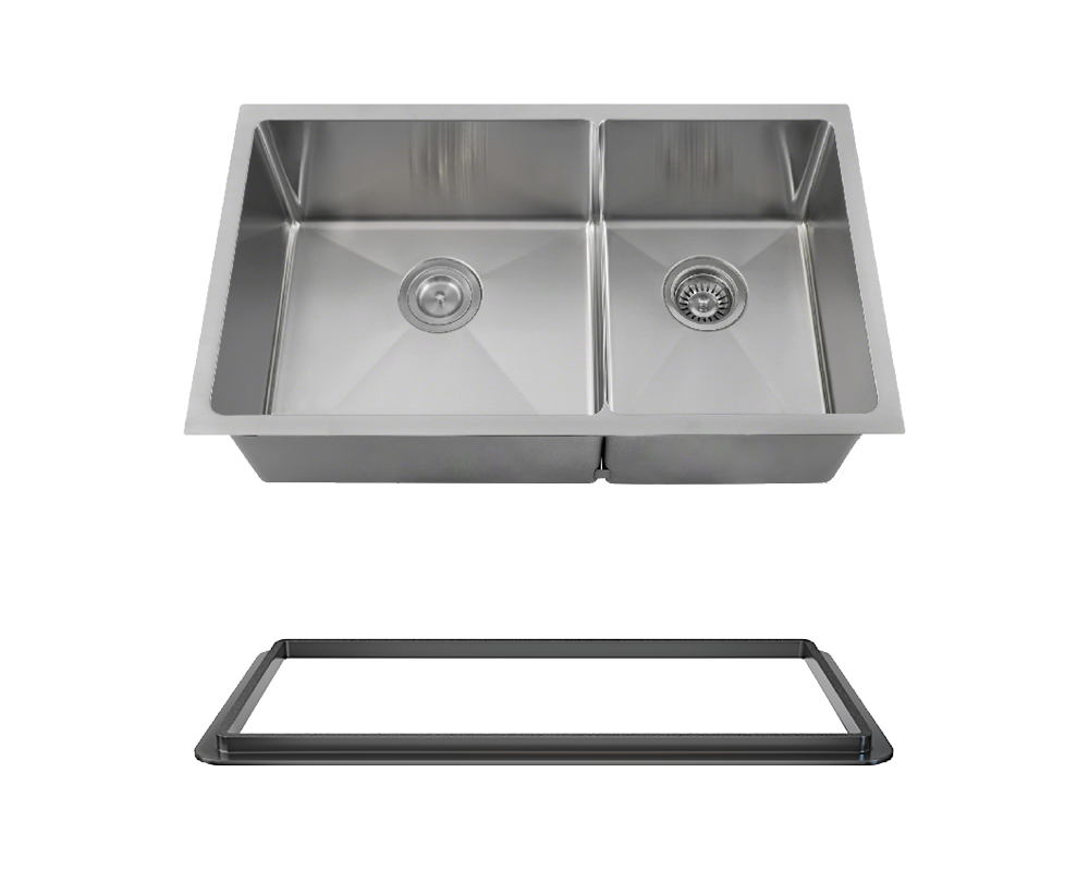 "MR Direct 3160L-14-SLBL Double Bowl 3/4"" Radius Stainless Steel Sink with Black SinkLink"