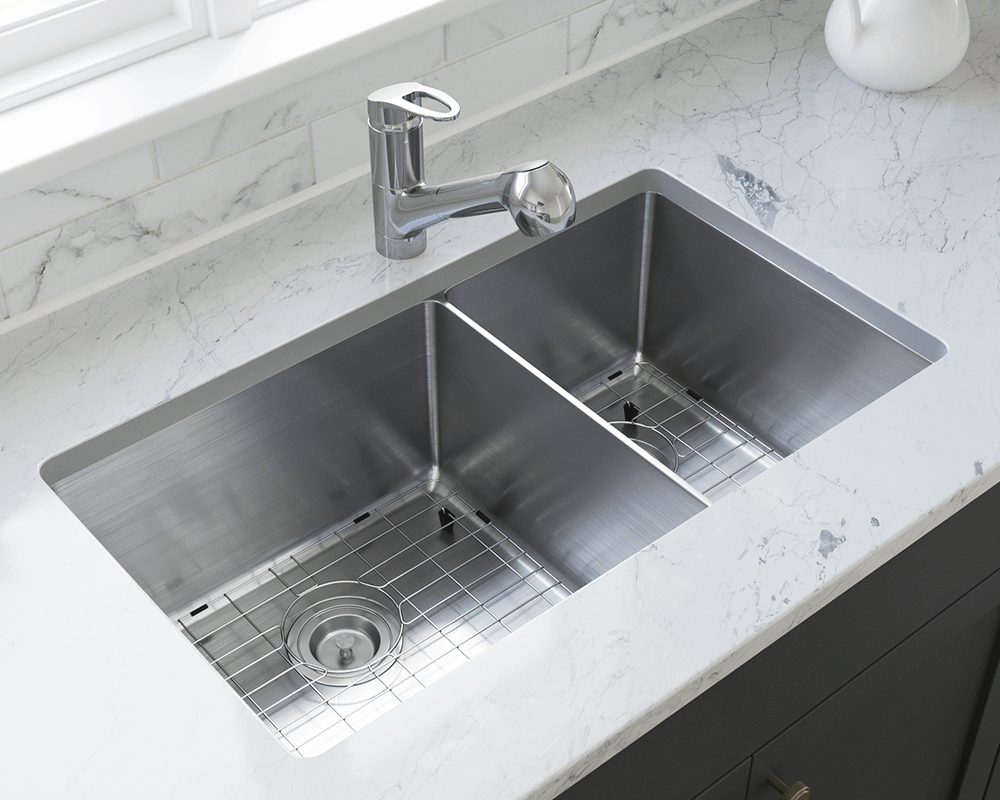 3160L-14-SLG Lifestyle Image: 304-Grade Stainless Steel Undermount to Laminate Rectangle Two Bowls Kitchen Sink