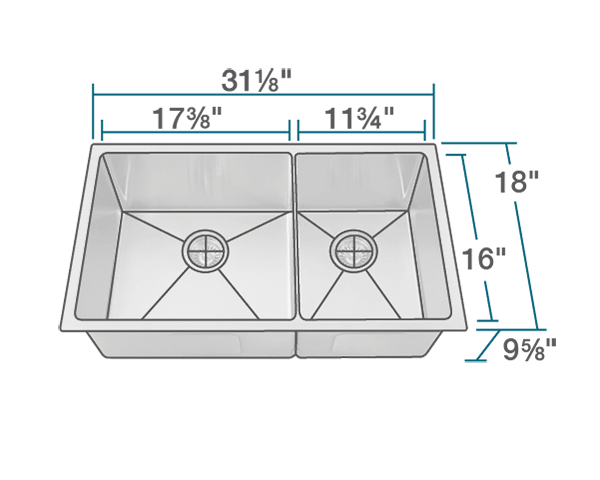"The dimensions of 3160L-14-SLG Double Bowl 3/4"" Radius Stainless Steel Sink with Gray SinkLink is 31 1/8"" x 18"" x 9 5/8"". Its minimum cabinet size is 33""."