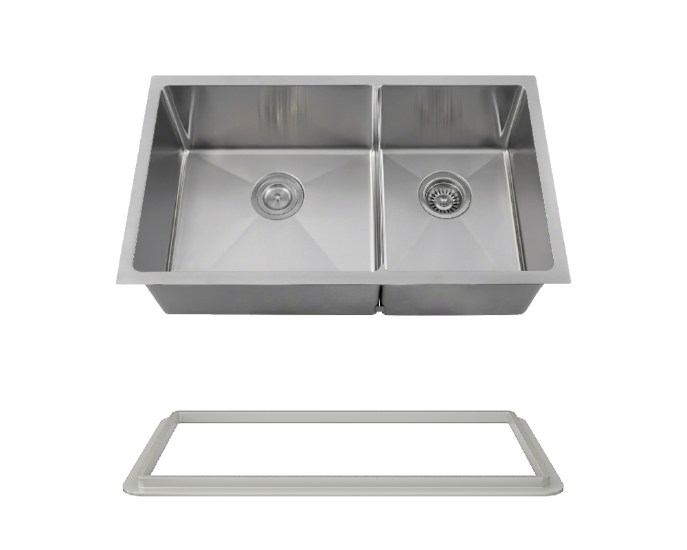 "MR Direct 3160L-14-SLG Double Bowl 3/4"" Radius Stainless Steel Sink with Gray SinkLink"