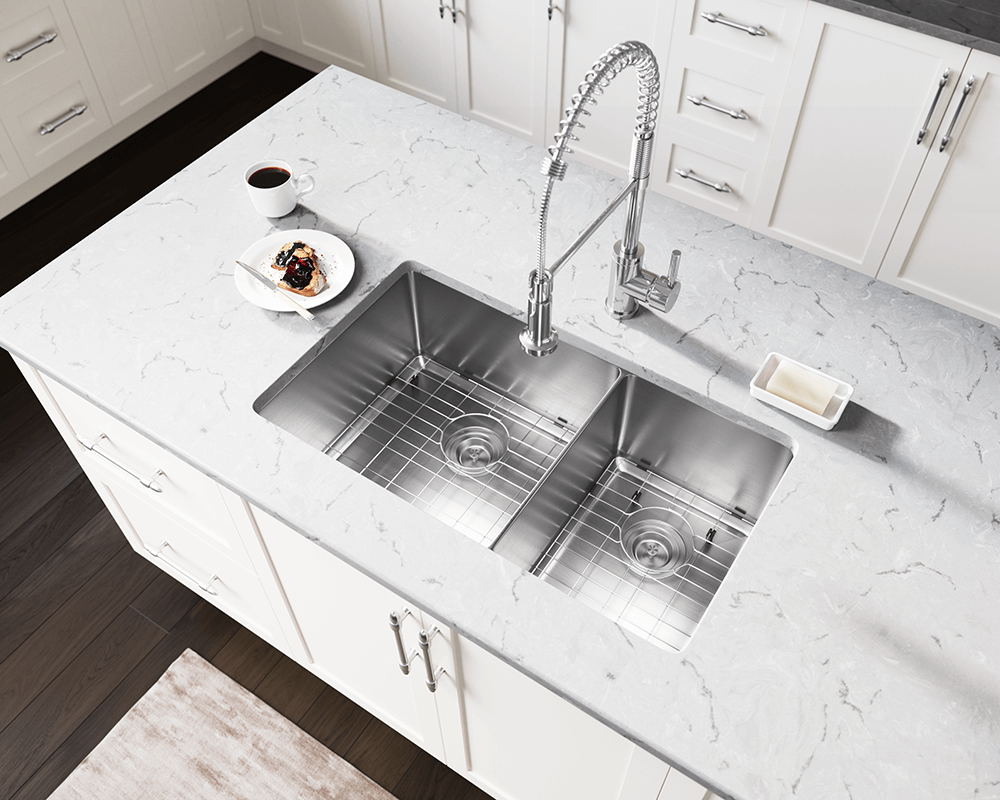 3160L-16 Lifestyle Image: 304-Grade Stainless Steel Rectangle Two Bowls Undermount Kitchen Sink