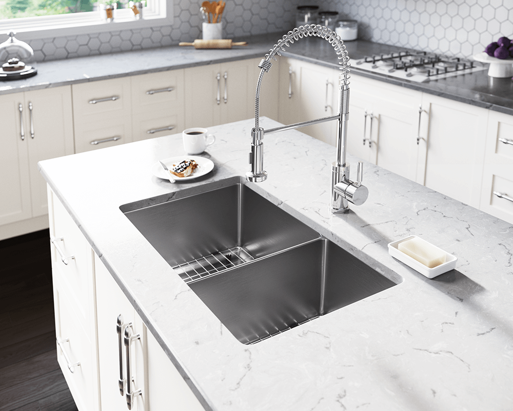 3160L-16 Lifestyle Image: 304-Grade Stainless Steel Rectangle Undermount Two Bowls Kitchen Sink