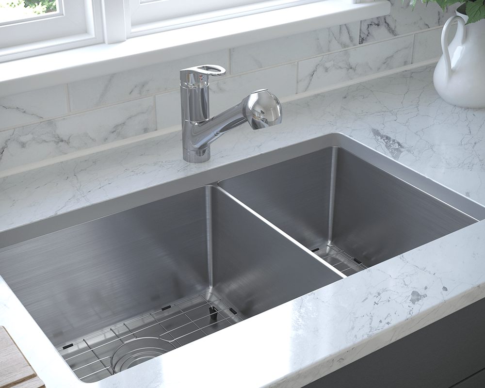 3160L-SLG Lifestyle Image: 304-Grade Stainless Steel Rectangle Undermount to Laminate Two Bowls Kitchen Sink