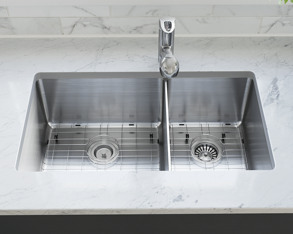 3160L-SLG Lifestyle Image: 304-Grade Stainless Steel Rectangle Two Bowls Undermount to Laminate Kitchen Sink