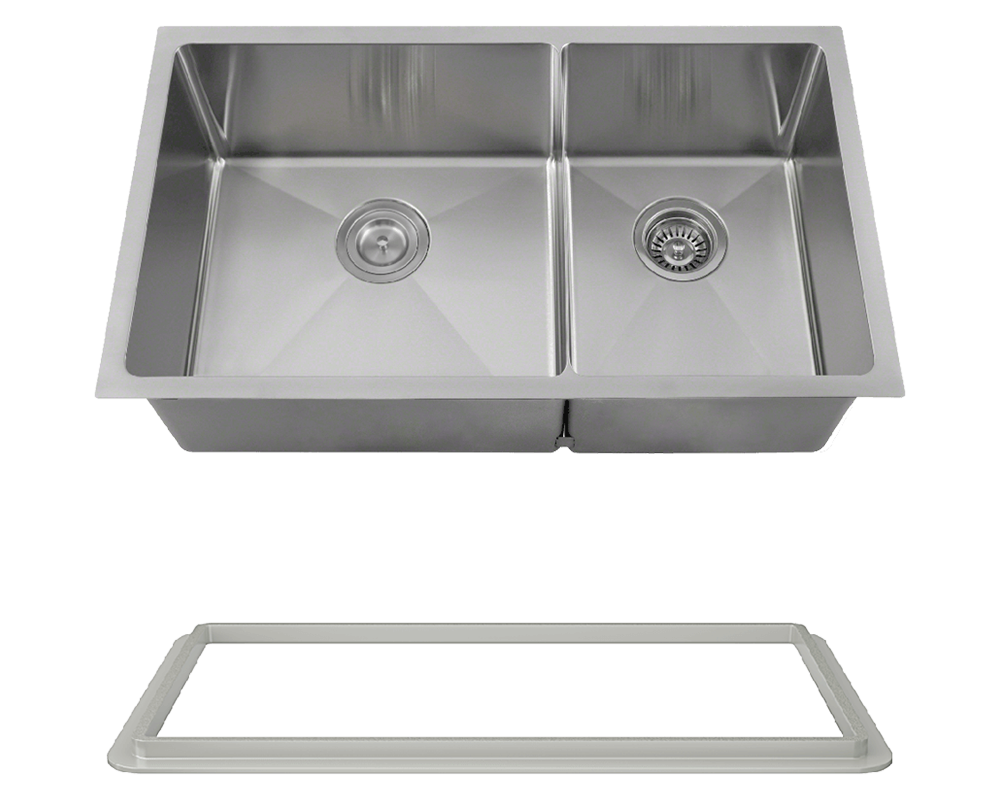 "MR Direct 3160L-SLG Double Bowl 3/4"" Radius Stainless Steel Sink with Gray SinkLink"