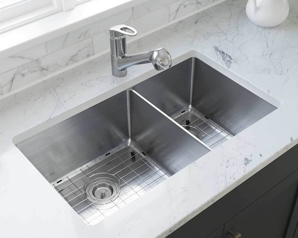 3160L-SLW Lifestyle Image: 304-Grade Stainless Steel Undermount to Laminate Rectangle Two Bowls Kitchen Sink