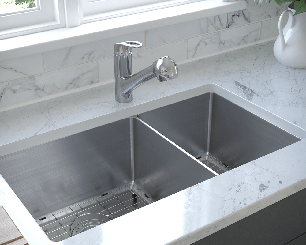 3160L-SLW Lifestyle Image: 304-Grade Stainless Steel Rectangle Undermount to Laminate Two Bowls Kitchen Sink