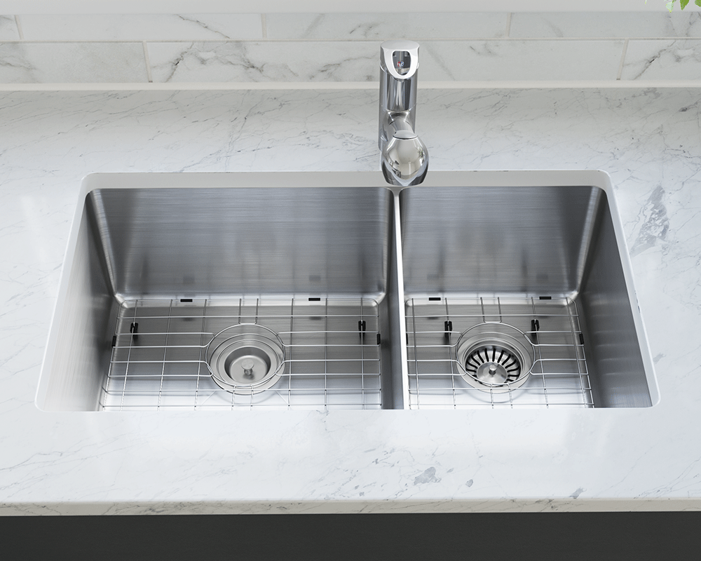 3160L-SLW Lifestyle Image: 304-Grade Stainless Steel Rectangle Two Bowls Undermount to Laminate Kitchen Sink