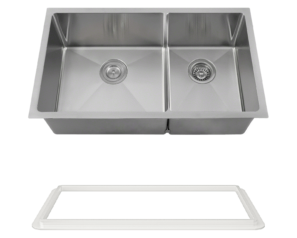 "MR Direct 3160L-SLW Double Bowl 3/4"" Radius Stainless Steel Sink with White SinkLink"