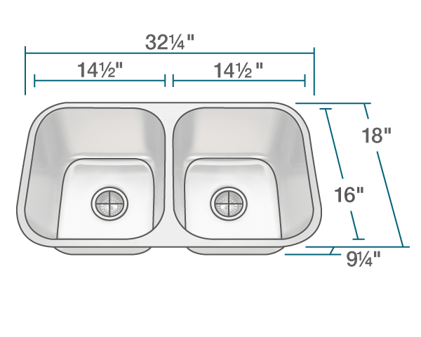 3218a Slg Double Bowl Undermount Stainless Steel Sink With