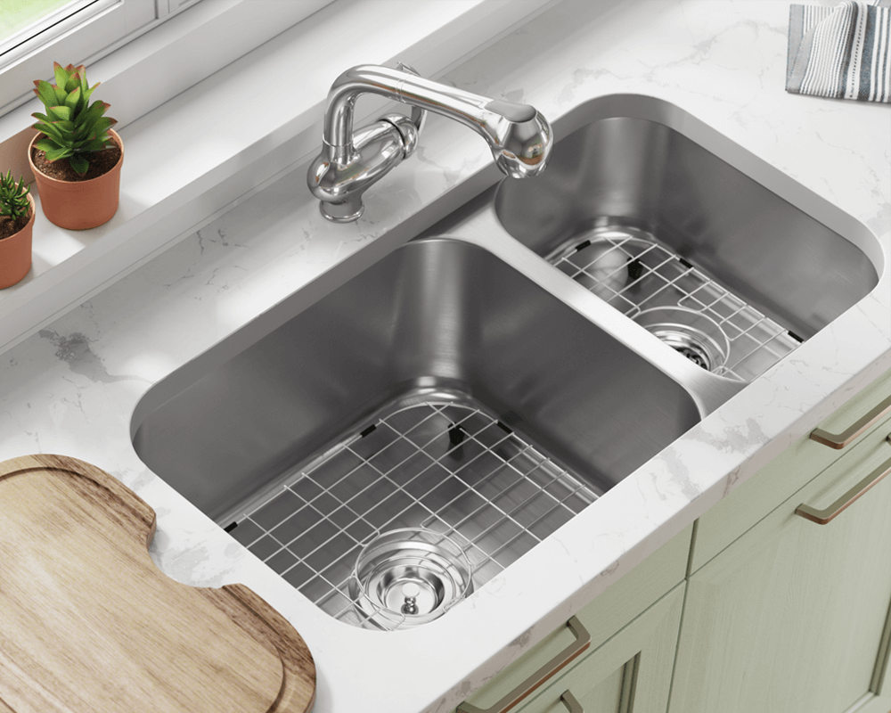 3218BL-16-SLG Lifestyle Image: 304-Grade Stainless Steel Undermount to Laminate Rectangle Two Bowls Kitchen Sink