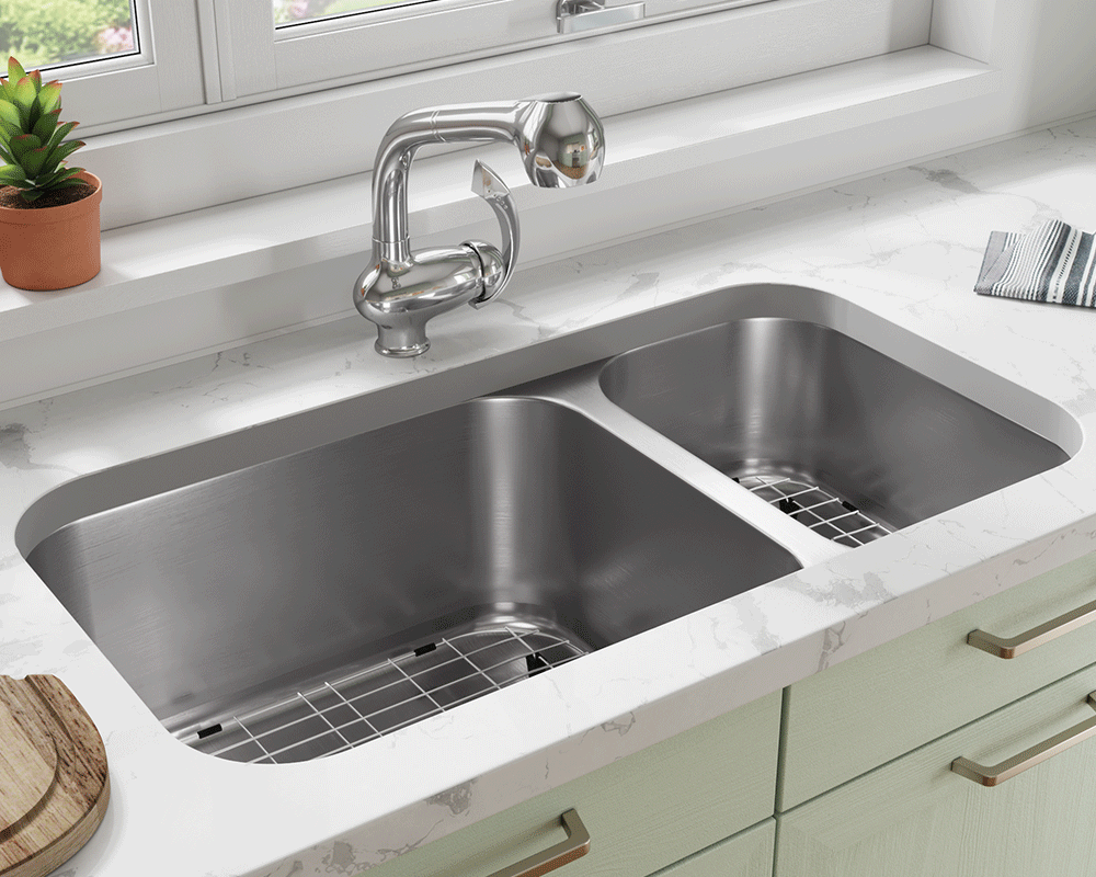 3218BL-16-SLG Lifestyle Image: 304-Grade Stainless Steel Rectangle Undermount to Laminate Two Bowls Kitchen Sink