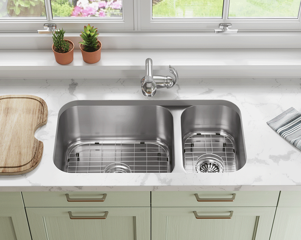 3218BL-16-SLG Lifestyle Image: 304-Grade Stainless Steel Rectangle Two Bowls Undermount to Laminate Kitchen Sink