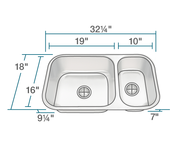 "The dimensions of 3218BL-16-SLG Offset Double Bowl Undermount Stainless Steel Sink with Gray SinkLink is 32 1/4"" x 18"" x 9 1/4"". Its minimum cabinet size is 33""."