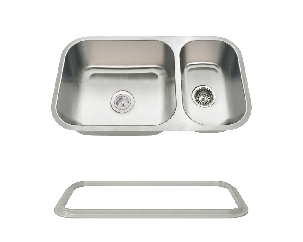 MR Direct 3218BL-16-SLG Offset Double Bowl Undermount Stainless Steel Sink with Gray SinkLink