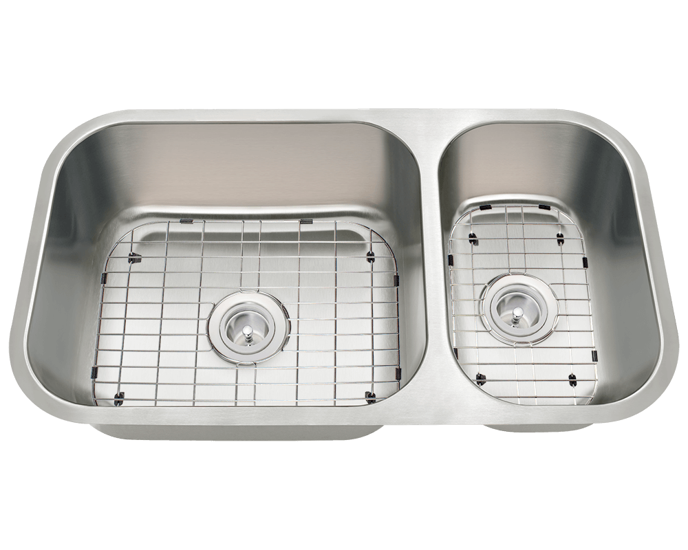 3218BL-SLBL Alt Image: 304-Grade Stainless Steel Rectangle Undermount to Laminate Two Bowls Kitchen Sink