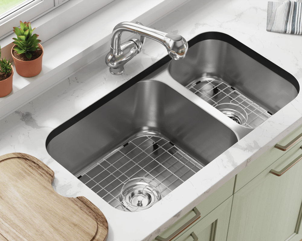 3218BL-SLBL Lifestyle Image: 304-Grade Stainless Steel Undermount to Laminate Rectangle Two Bowls Kitchen Sink