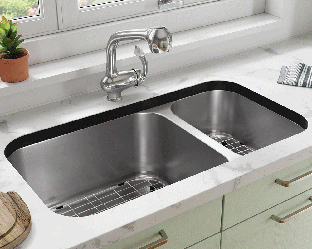 3218BL-SLBL Lifestyle Image: 304-Grade Stainless Steel Rectangle Undermount to Laminate Two Bowls Kitchen Sink