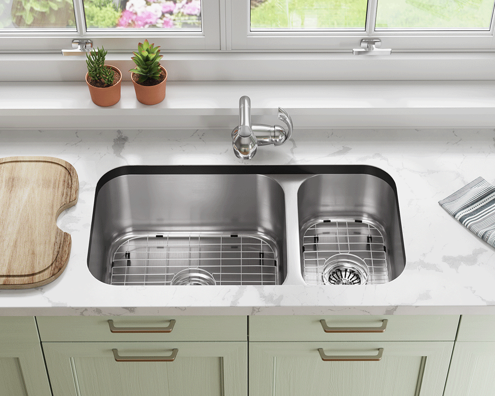 3218BL-SLBL Lifestyle Image: 304-Grade Stainless Steel Rectangle Two Bowls Undermount to Laminate Kitchen Sink