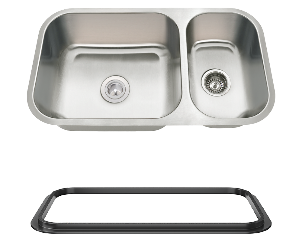 MR Direct 3218BL-SLBL Offset Double Bowl Undermount Stainless Steel Sink with Black SinkLink