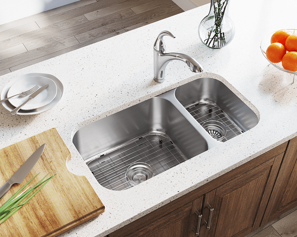 3218BL Lifestyle Image: 304-Grade Stainless Steel Rectangle Two Bowls Undermount Kitchen Sink