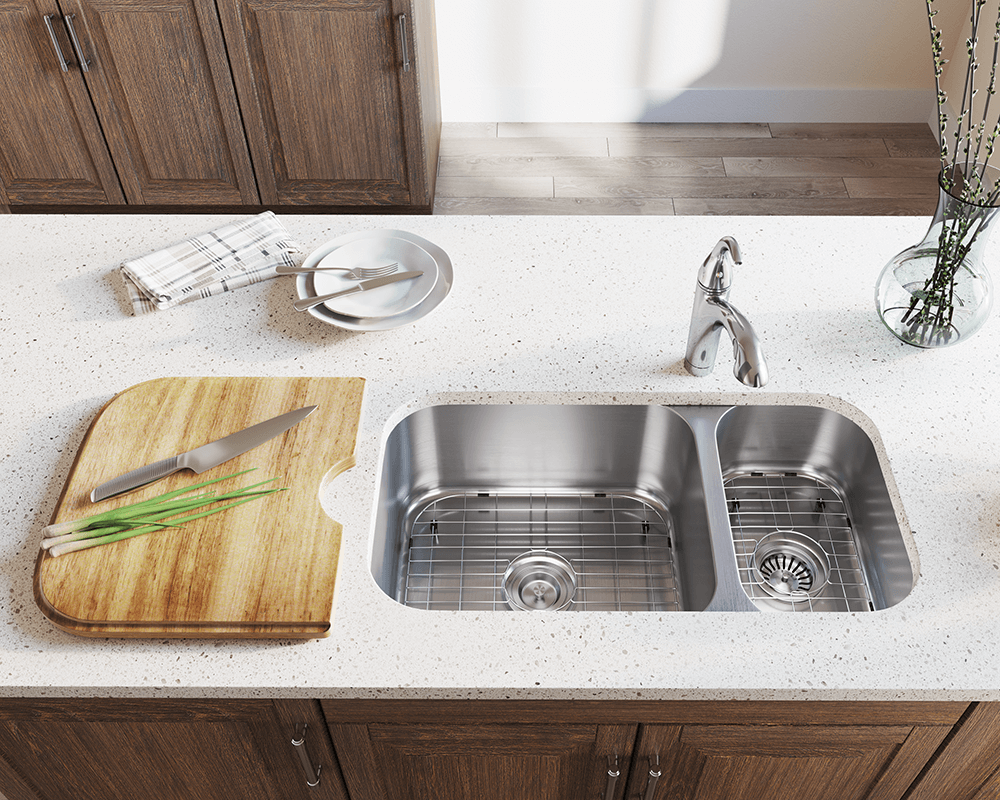 3218BL Lifestyle Image: 304-Grade Stainless Steel Rectangle Undermount Two Bowls Kitchen Sink