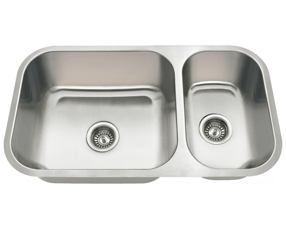 MR Direct 3218BL Offset Double Bowl Undermount Stainless Steel Sink