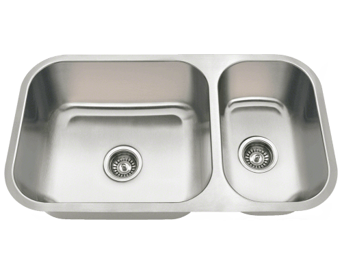 MR Direct 3218BL 3218BL Offset Double Bowl Undermount Stainless Steel Sink