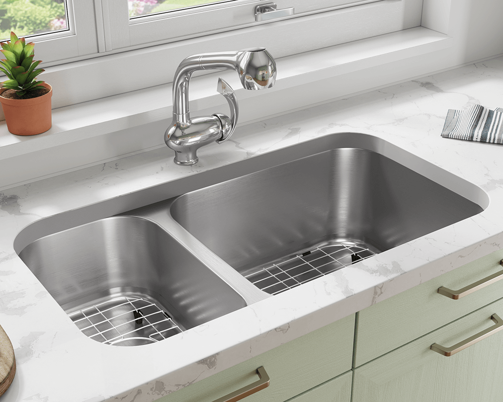 3218BR-16-SLG Lifestyle Image: 304-Grade Stainless Steel Rectangle Two Bowls Undermount to Laminate Kitchen Sink