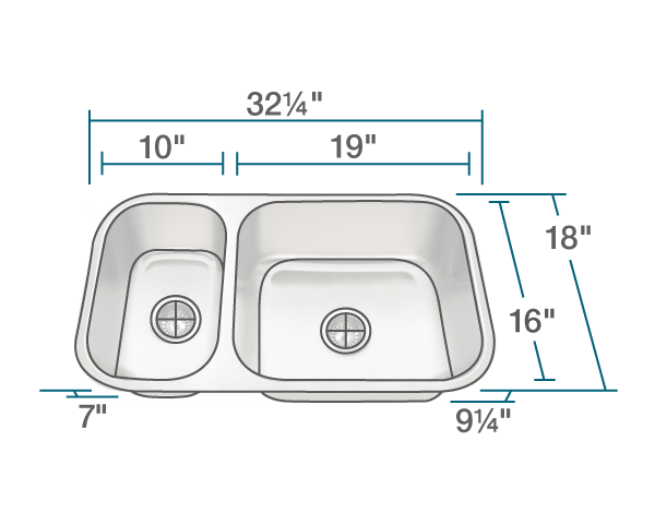 "The dimensions of 3218BR-16-SLG Offset Double Bowl Undermount Stainless Steel Sink with Gray SinkLink is 32 1/4"" x 18"" x 9 1/4"". Its minimum cabinet size is 33""."