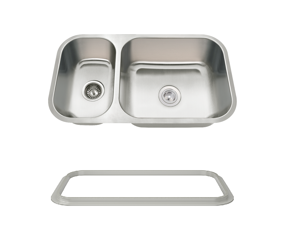 MR Direct 3218BR-16-SLG Offset Double Bowl Undermount Stainless Steel Sink with Gray SinkLink