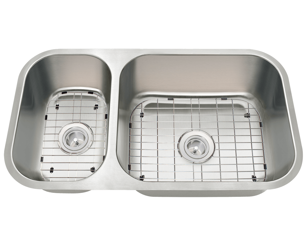 3218BR-SLBL Alt Image: 304-Grade Stainless Steel Rectangle Undermount to Laminate Two Bowls Kitchen Sink