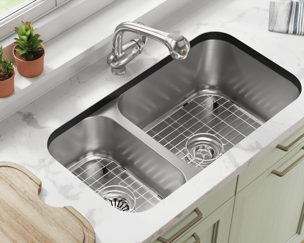 3218BR-SLBL Lifestyle Image: 304-Grade Stainless Steel Undermount to Laminate Rectangle Two Bowls Kitchen Sink