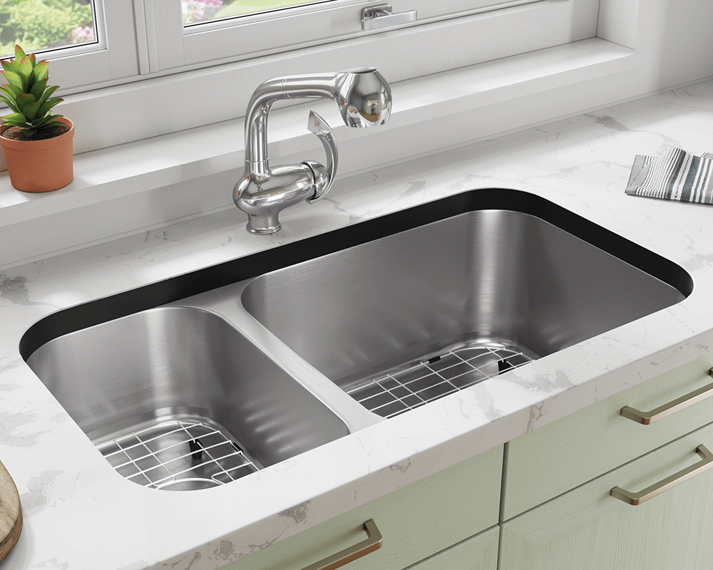 3218BR-SLBL Lifestyle Image: 304-Grade Stainless Steel Rectangle Two Bowls Undermount to Laminate Kitchen Sink