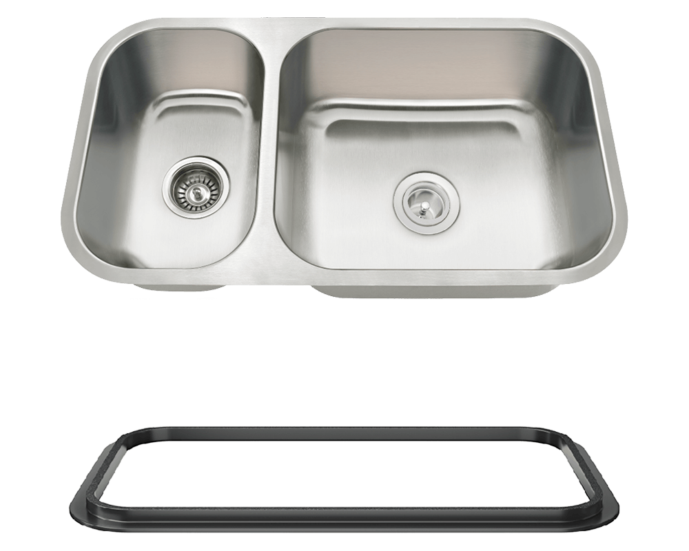 MR Direct 3218BR-SLBL Offset Double Bowl Undermount Stainless Steel Sink with Black SinkLink