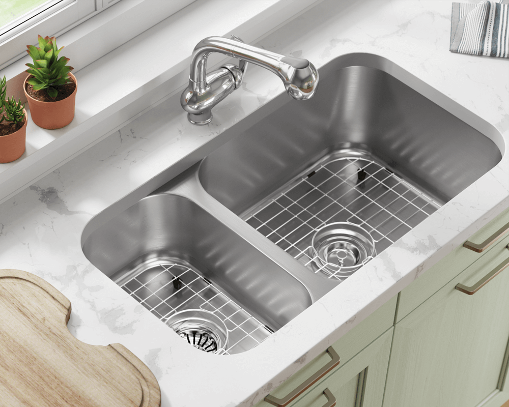 3218BR-SLG Lifestyle Image: 304-Grade Stainless Steel Undermount to Laminate Rectangle Two Bowls Kitchen Sink
