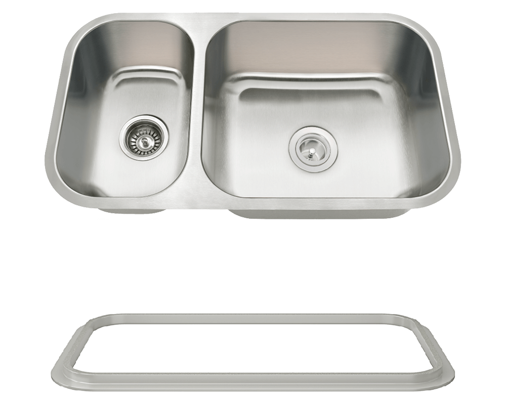 MR Direct 3218BR-SLG Offset Double Bowl Undermount Stainless Steel Sink with Gray SinkLink