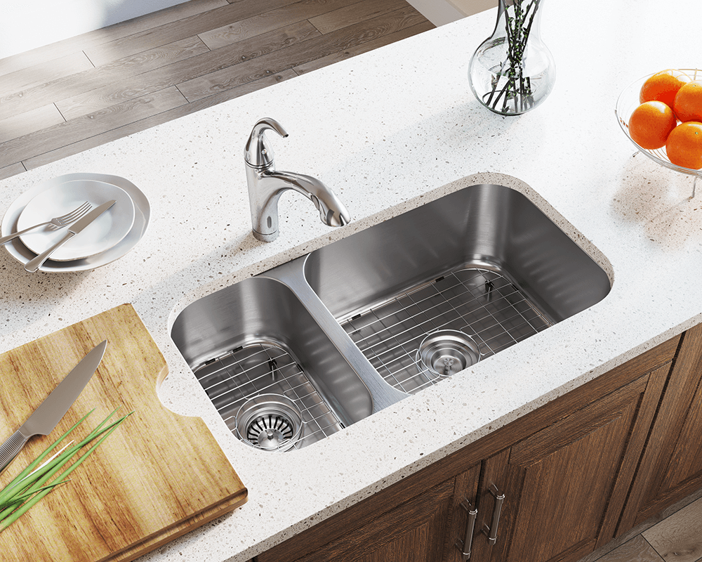 50ef9a3037 3218BR Offset Double Bowl Stainless Steel Kitchen Sink
