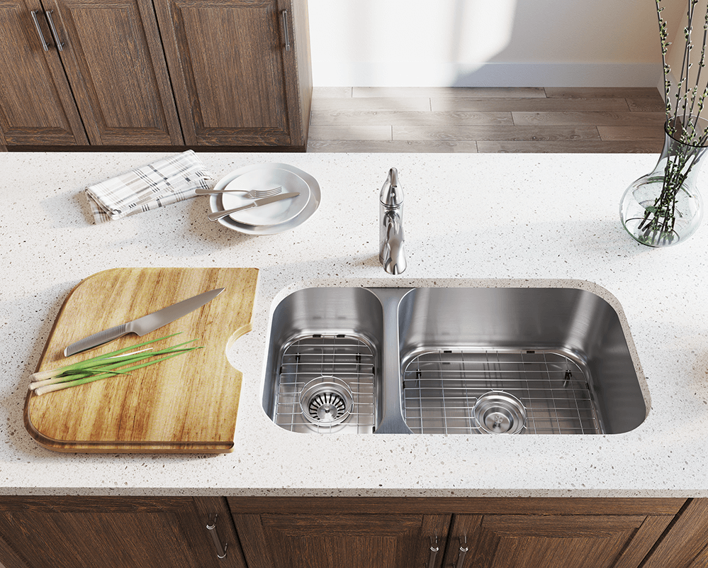 3218BR Lifestyle Image: 304-Grade Stainless Steel Rectangle Undermount Two Bowls Kitchen Sink