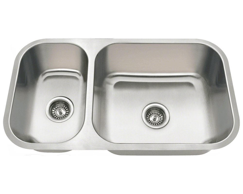 MR Direct 3218BR Offset Double Bowl Undermount Stainless Steel Sink